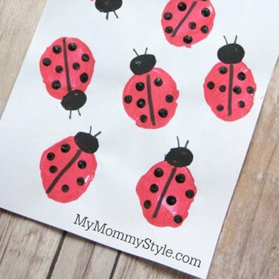 Adorable DIY ladybug potato stamp - stamping for kids