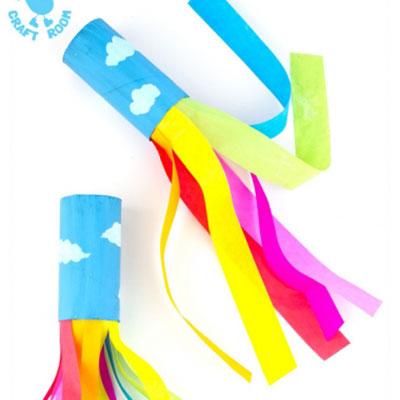 DIY Toilet paper tube rainbow blowers - fun paper craft for kids