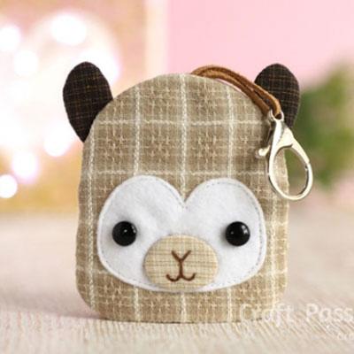 DIY Fabric llama key pouch (keychain) - free sewing pattern & tutorial