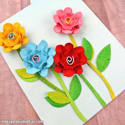 Easy DIY egg carton flowers - spring craft for kids