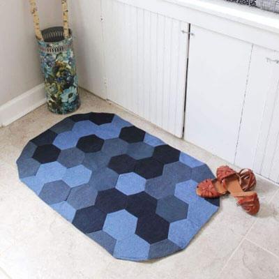 DIY Hexagon denim rug - denim upcycling craft