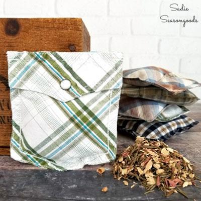 DIY Upcycled shirt pocket sachet - Father's day gift idea