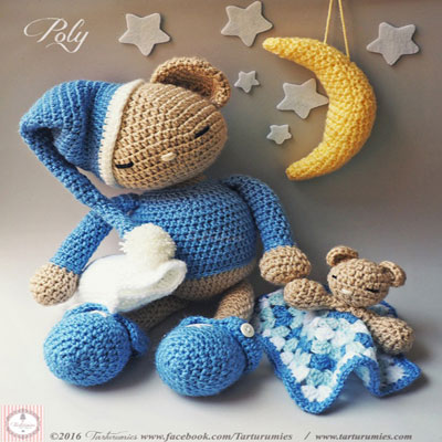 Poly the sleeping amigurumi bear  and his blankey (free crochet patterns)