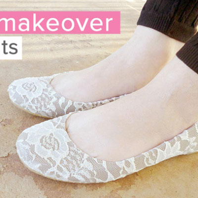 DIY Lace ballerina flats - shoe makeover idea
