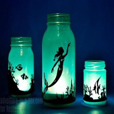 DIY Mason jar mermaid lantern (free printable)
