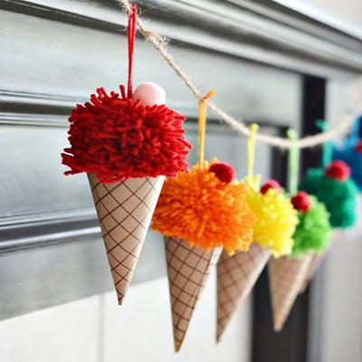 DIY Pom pom ice cream cones - fun summer decor