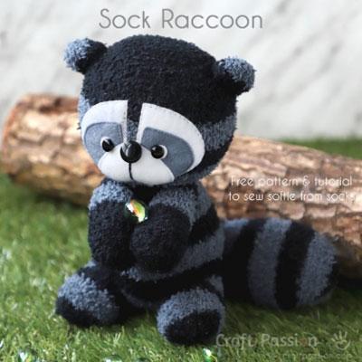 DIY Sock raccoon ( free sock toy sewing pattern and tutorial )