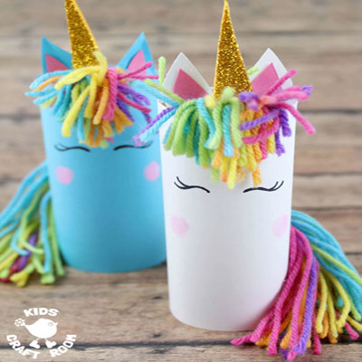 DIY Toilet paper roll unicorn - fun recycling craft for kids