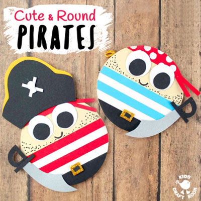 Adorable round pirates - fun summer craft for kids