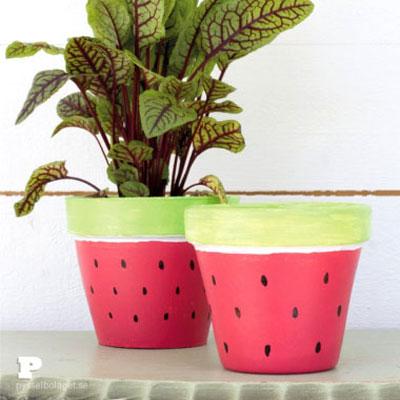 DIY Watermelon planter (watermelon pot) - summer decor