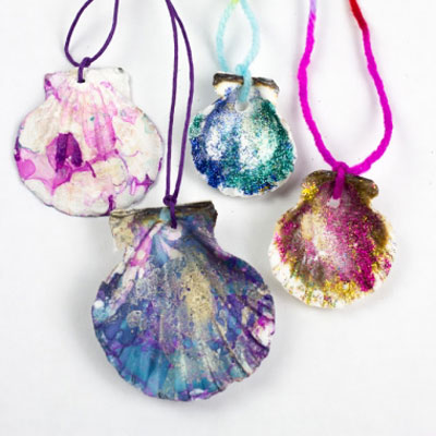 Easy DIY painted seashell necklace - summer craft