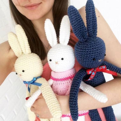 Knitted Square Bunny Rabbit – Simple Steps, Tutorial | 400x400