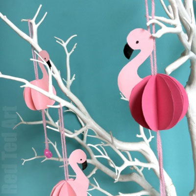 DIY Paper flamingo ornaments - easy and fun summer craft for kids