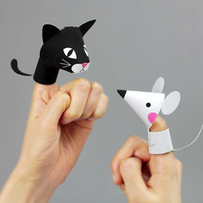 Paper farm animal finger puppets - free printable