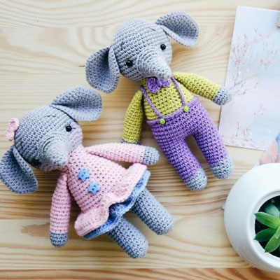Elephants Emil & Emma amigurumi pattern | 400x400