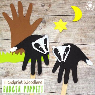 DIY handprint badger puppet - woodland craft for kids