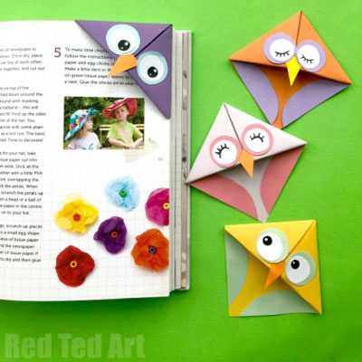 Easy DIY owl corner bookmarks - fall craft for kids
