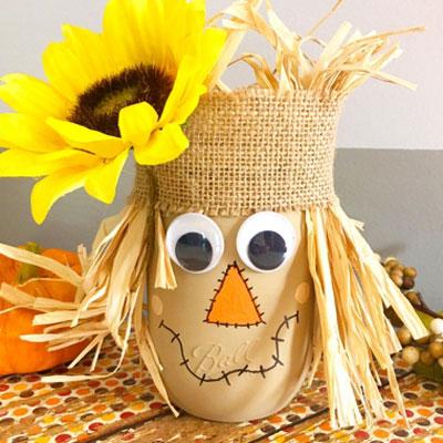 DIY Scarecrow mason jar craft - fall craft for kids