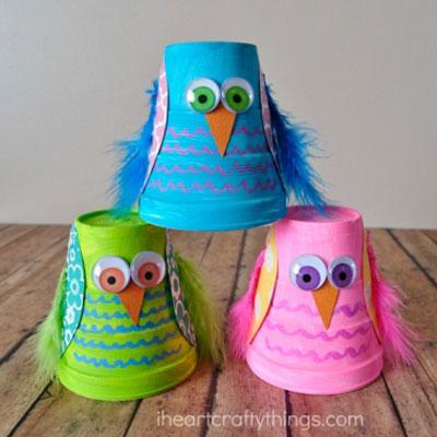 DIY Styrofoam cup owl - fall craft for kids