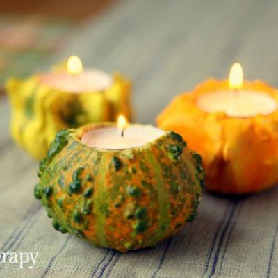 DIY Little gourd tea candle holder - quick fall decor