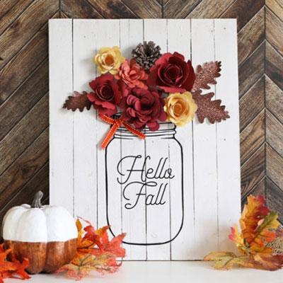 DIY Paper flower and mason jar wall art ( fall decor )