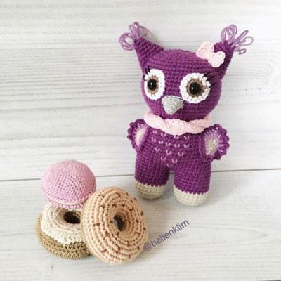 Little purple amigurumi owl - free crochet pattern
