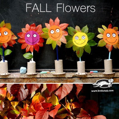 DIY fall leaf flower - easy fall craft for kids