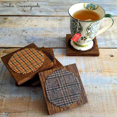 Easy DIY salvaged wood and vintage tweed coasters
