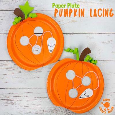 DIY Paper plate pumpkin lacing toy - fun fall craft for kids