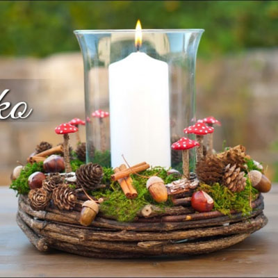 Easy DIY fall wreath centerpiece with mushrooms
