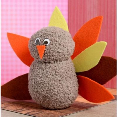 No-sew sock turkey plushie - easy& fun fall craft for kids