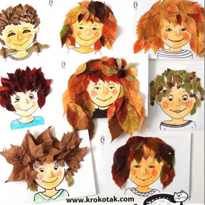 Autumn hairstyles - fun fall leaf craft for kids