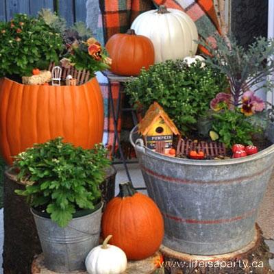 DYI Autumn fairy garden - fall garden decor