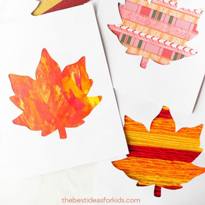 Easy fall leaf silhouette card - autumn craft for kids