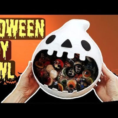 DIY Paper mache ghost Halloween bowl