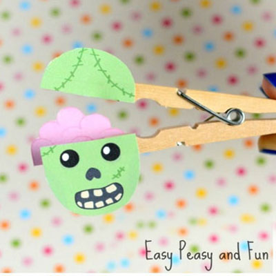 DIY Clothespin zombie - fun Halloween craft for kids