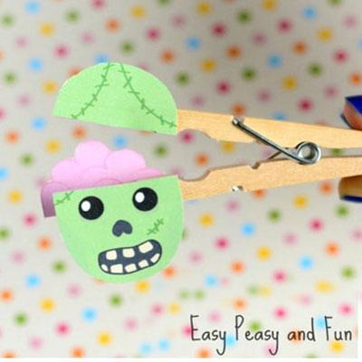 DIY Clothespin zombie - fun Halloween craft for kids
