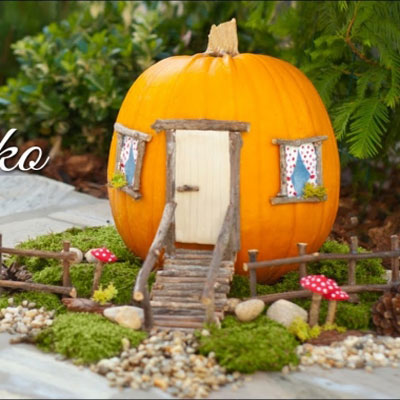 DIY Pumpkin fairy house  - fall fairy garden