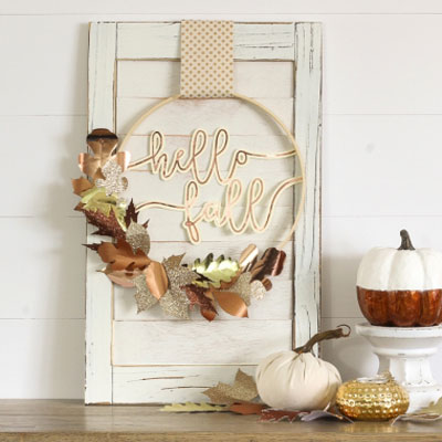 Easy DIY paper fall leaf wreath - stylish fall decor