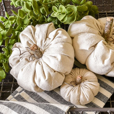DIY vintage fabric pumpkins - quick and simple fall decor