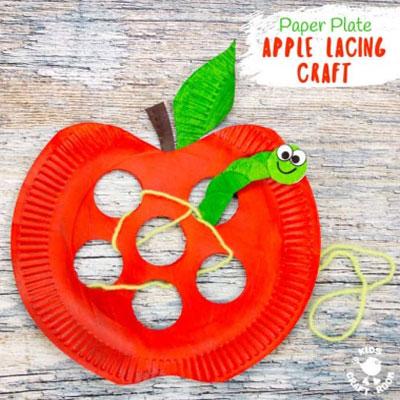 DIY Paper plate apple lacing craft - fun fall craft for kids