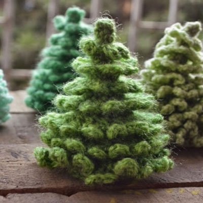 Crocheted amigurumi christmas (pine) trees