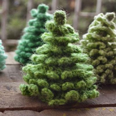 Crocheted amigurumi christmas (pine) trees