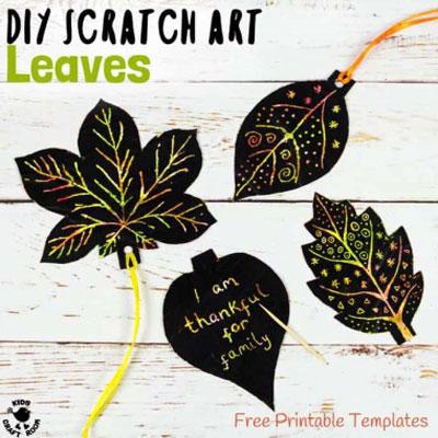 DIY Fall leaf scratch art - fun fall craft for kids