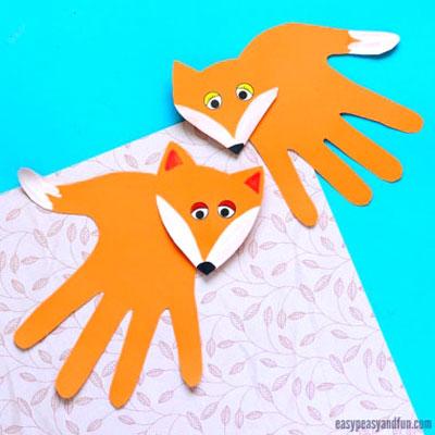 DIY Handprint fox craft - fun fall paper craft for kids