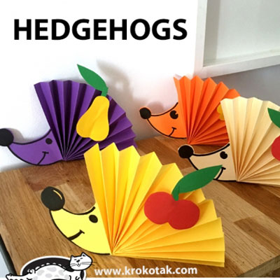 Paper rosette hedgehog - easy fall paper craft for kids