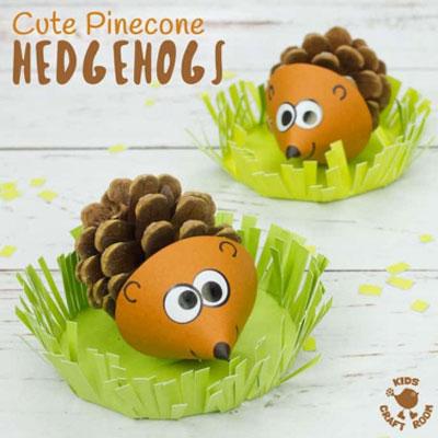 DIY Pinecone hedgehog - easy & fun fall craft for kids
