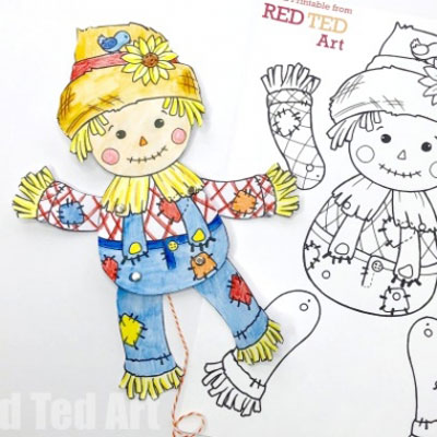 DIY Paper scarecrow puppet (free printable template)