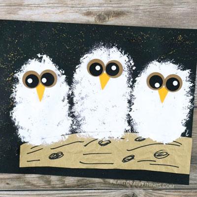DIY Owl baby painting - fun fall craft for kids