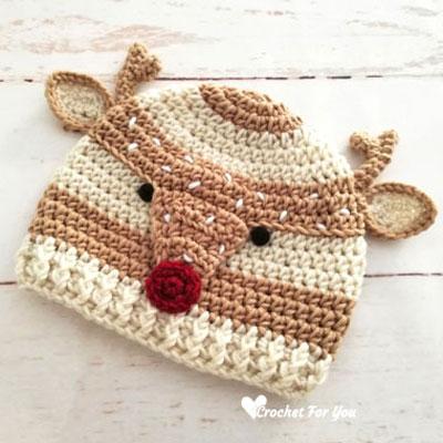 DIY Spotted crochet reindeer hat - free crochet pattern